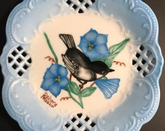 Hand painted Chickadee with blue morning glories on a china coaster plate.