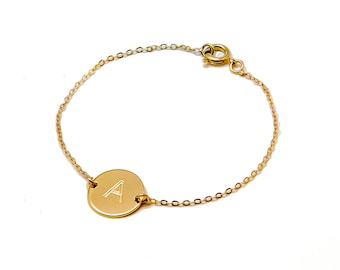 Initial Bracelet, Gifts for Her, Letter Bracelete, Personalized Bracelet, Gift for Mom, Dainty Gold Bracelet, Toggle, in Silver, Gold Fill,