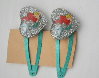The Little Mermaid Disney Ariel glitter hairclips.