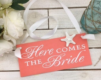 "Here Comes The Bride Sign-12""x 5.5"" Coral Sign-Rustic Coral Sign-Wedding Sign"