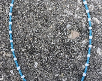 Light Blue and White Patterned Seed Bead Necklace 16 inches long with Clasp / Free shipping