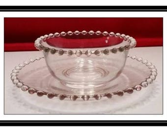 Elegant Vintage Imperial Candlewick-Clear Mayonnaise Bowl and Underplate