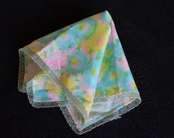 Springtime Print Cotton Handkerchief in Pastel Pink, Blue, Green and Yellow