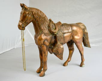 Cast Metal Horse Statue in Bronze or Copper Color