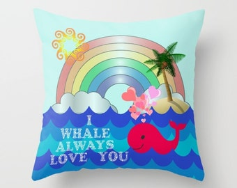 Valentine Pillow, Valentine's Day, Whale Pillow, Cute Pillow, Funny Valentine, Heart Pillow, Blue Pillow, Throw Pillow Cover, Love, Cushion