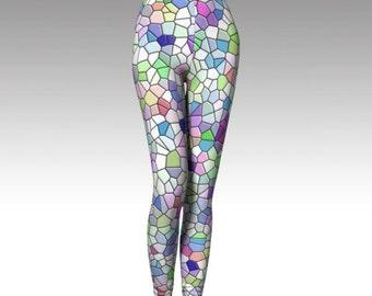 Mosaic Leggings, Pastel Leggings, Colorful Leggings, Mosaic Capris, Pastel Capris, Colorful Capris, Yoga Legging, Running Legging, Fitness