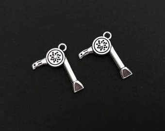 Hair Dryer Charm. Lot of 10 / 20 / 30 / 40 / 50 / 100 pcs Silver Plated Hairdresser Charms. Handmade Jewelry Pendants. Craft Supplies.