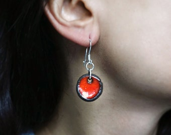 Handmade Ceramic Red 925 Silver Earring