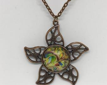 """Antique Bronze Necklace, Sun Charm, 24"""" Chain"""
