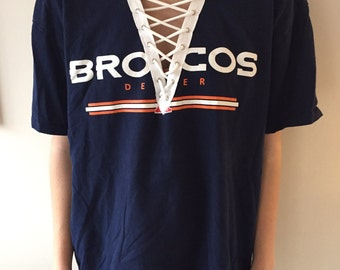 LF Inspired Denver Broncos NFL lace up t shirt