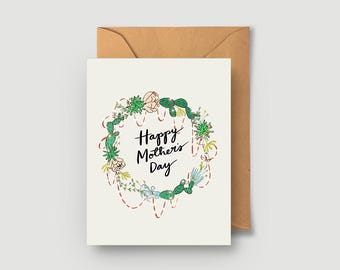 Happy Mother's Day - Cute Succulent Cactus Greeting Card - Blank Card