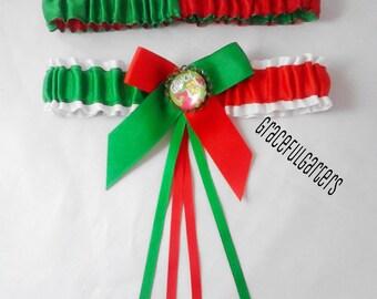 The Grinch festive christmas wedding Garter set