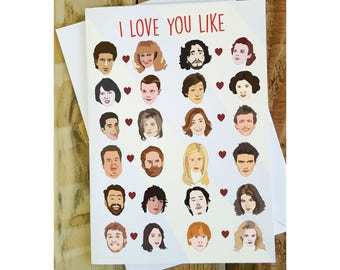 I Love You Like Card, Funny Birthday Card, Anniversary Card, Geeky Love Card, Funny Greetings Cards, TV Shows, Movie Lover, Pop Culture Card