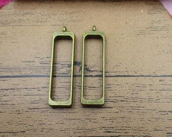 2 Slender Rectangle Open Bezel Pendants-10x35mm,Locket Frame,Antique Bronze Tone-TS053