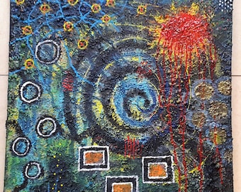 Acrylic painting 50 x 50 canvas abstract structures modern colorful anger intuitive painting