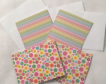 4 Handcrafted Stationery Note Cards with Envelopes NC015