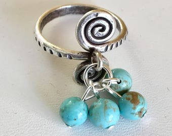 USA FREE SHIPPING!!  Sterling Silver Turquoise Ring