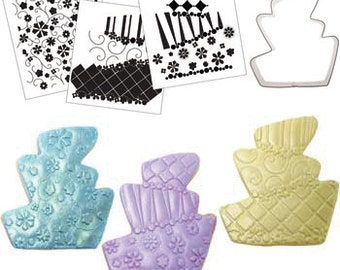 Topsy Turvy Cake Cookie Cutter & Texture Set