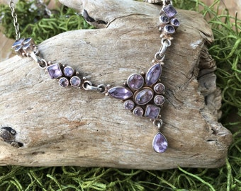 Interact Multi Stone Amethyst & Sterling Silver Necklace | Statement Necklaces | Purple Stone Jewelry | February Birthstone