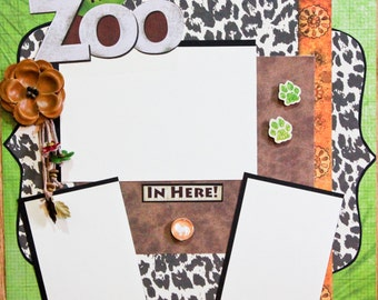 "Premade Scrapbook Page 12 x 12 ""It's a Zoo in Here"""