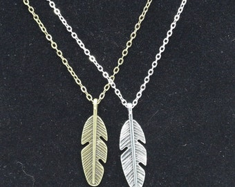 Summer Women's Bijoux Vintage Love Feather Pendant Necklace Chain Western Silver