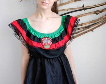 Mexican vintage dress 1990s 1980s Ethnic Dress Boho Dress Helloween