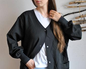 Womens black oversize blouse 1990s 1980s casual Cloak summer jacket
