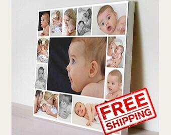 Baby Photo. Сollage on Сanvas. Photo Collage. Birthday gift. Print