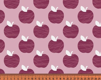 Sweat French Terry apples pink dark red fabric Apple 0, 50 m