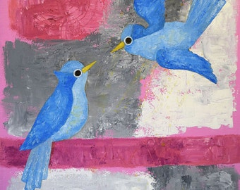 Modern painting Birdies Original Oil painting Abstract art Canvas painting Contemporary art