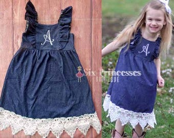 Denim & Lace DRESS with Monogram Initial Personalized Cowgirl Bib Dress Ruffle Ruffled Jeans Jean Boots Photos Monogrammed Boutique Holiday