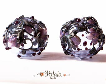 Pair of Lampwork Hollow Glass Beads for earrings