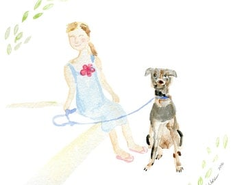 Custom watercolor illustration, gift for her, gift for dog lover, dog lover, personalized gift, personalised, commissioned art, pet pamper