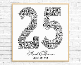PERSONALIZED 25TH ANNIVERSARY Gift ~ Word Art ~ Printable Art ~ Unique Anniversary gift ~ 25 Year Silver Wedding Anniversary ~ Unique Gift