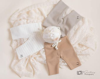 Grab Bag pants and tieback set,newborn pants set,baby pants,newborn,neutral,photography props sale,pants lot,photography props lot,grab bags