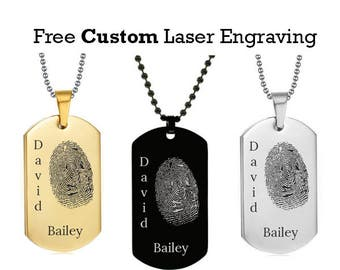 Personalized Fingerprint Dog Tag w/ Double Name - Laser Engraved Fingerprint Dog Tag