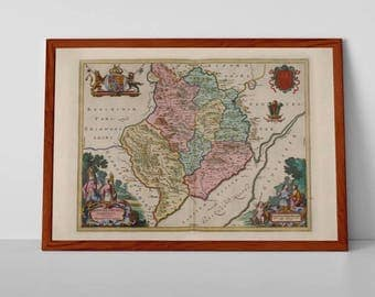 Old Map of Monmothshire | Fine Art Giclée Reproduction | Antique Map of Monmoth; Usk, Abergavenny, Chepstow, Caldicot, Tintern, Raglan, UK