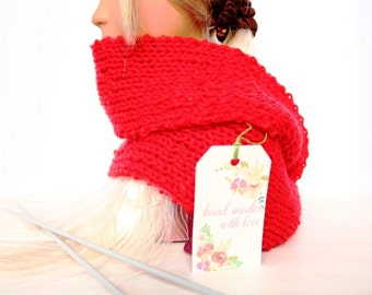 50% SALE, Knitted Red Scarf, Hand Knit Red Scarf, Knit Scarf Winter Scarf Wrap Scarf Baby Scarf Toddler Girl Scarf Modern Scarf Knit Item