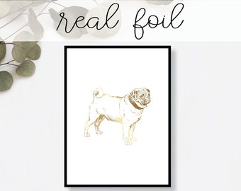 Pug Dog Print Real Gold Foil Minimal Gold Foil Art