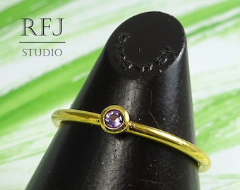 Natural Amethyst Yellow Gold  Ring, February Birthstone 2 mm Round Cut Purple Amethyst 24K Gold Plated Stackable Ring Gold Amethyst RIng