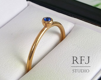 Lab Sapphire 14K Gold Plated Ring, 2 mm Blue Corund September Birthstone Rose Gold Plated Ring, Sapphire Rose Gold Ring, 14K Gold  Ring