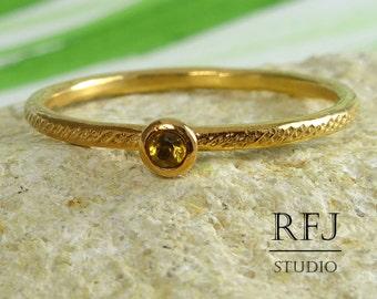 Natural Citrine Dainty Textured Rose Gold Ring, November Birthstone 2mm Round Cut Citrine Stacker 14K Rose Gold Plated Citrine Stacking Ring
