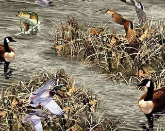 """Hunting Season: Realtree Hunting - Ducks, Geese, Fish Allover by Sykel 100% cotton Fabric by the yard 36""""x44"""" (k267)"""