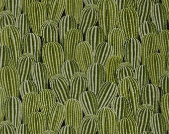 """Cactus Fabric: Packed Cactus Plant Green by Timeless Treasures 100% cotton Fabric by the yard 36""""x43"""" (G365)"""