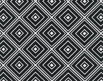 "Robert Kaufman Metro Living Diamond Black and white 100% cotton Fabric by the yard 36""x44"" (M123)"