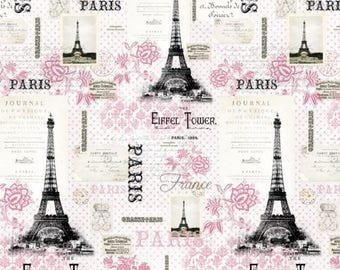 Floral Fabric, Paris Eiffel Tower Fabric: Rosenthal Represents Pink Paris Pink Premium by David Textiles 100% cotton Fabric (DA47)