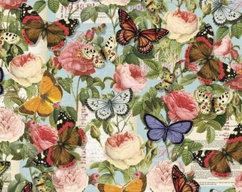 Butterfly Fabric, Floral Fabric, Rose Fabric: Spring Lula Bijoux Vintage Rose and Butterflies by David Textiles 100% cotton Fabric (DA51)