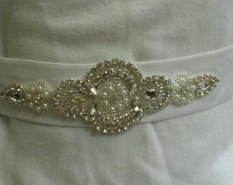 "37"" White Bridal Belt with Rhinestone Applique"