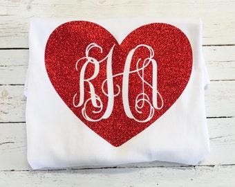 Valentine monogram ruffle shirt or dress, heart monogram shirt or dress, circle monogram shirt or dress