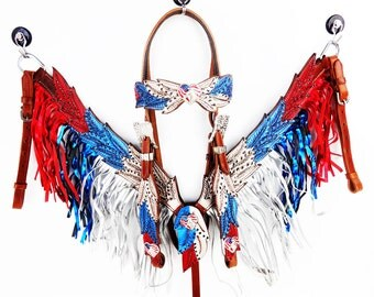 Handmade Angel Wings Red White & Blue Silver Fringe Bling Leather USA American Flag Headstall Western Horse Trail Bridle Breast Collar set